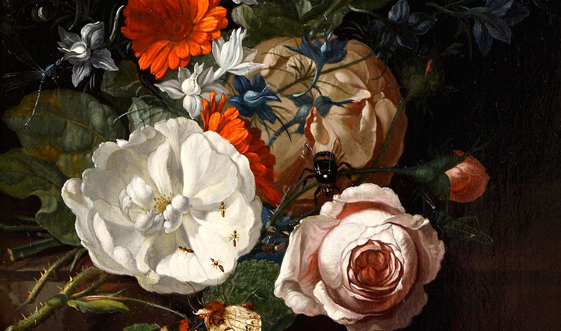 Rachel Ruysch, Still Life of Flowers on a Table Ledge